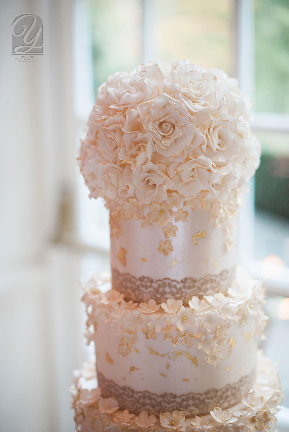 """Elie Saab Couture 2015 inspired glorious 4 tier chic gold-gilded """"Golden Rose Elegance"""", shimmering in beautiful cream hues, crowned with a burst of delicate handcrafted sugar roses from from Unique Cakes, by Yevnig"""
