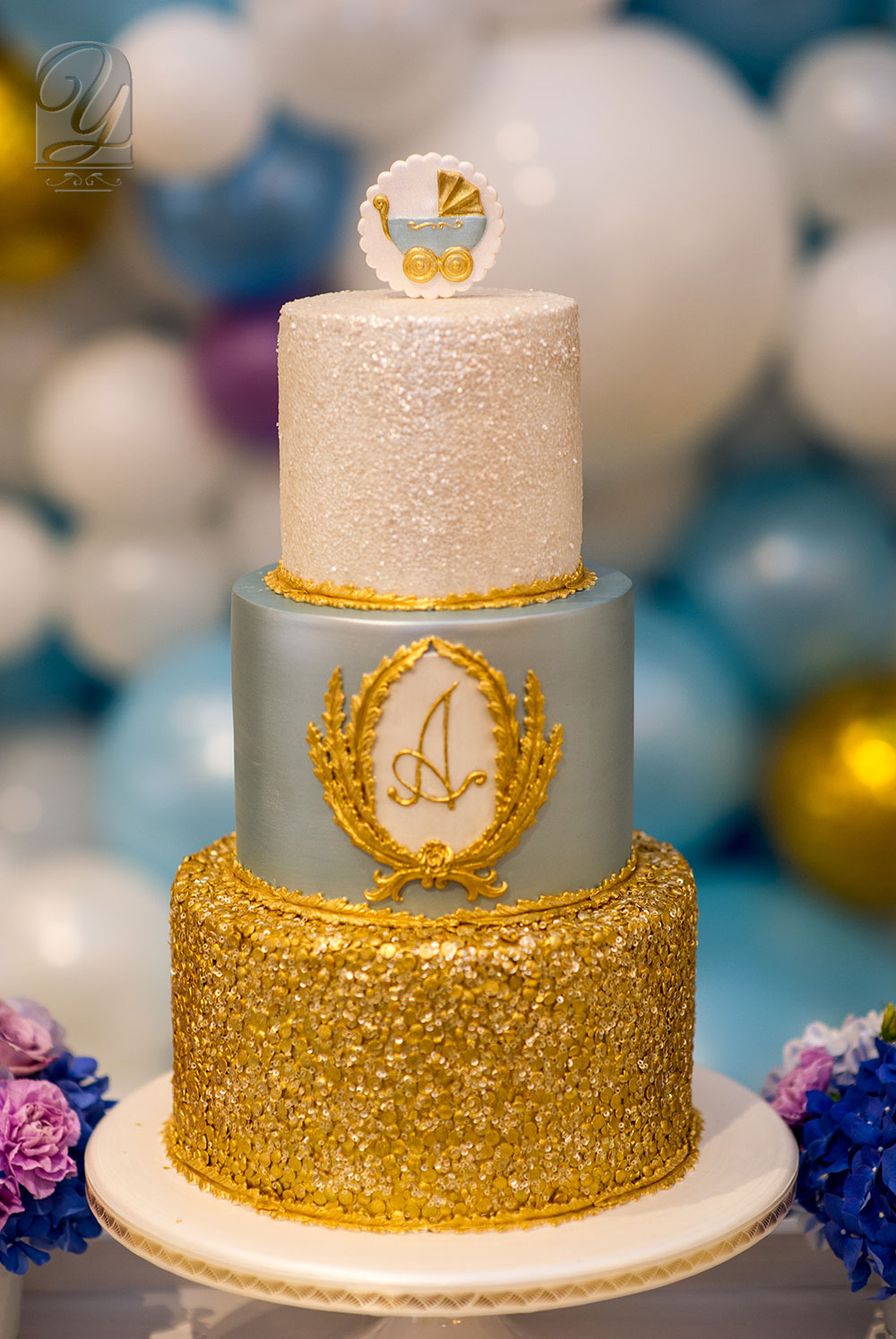 Luxury Bespoke Cake for Baby Shower from Unique Cakes by Yevnig at Claridge's, London
